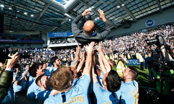 City de 'Pep' Guardiola celebrando