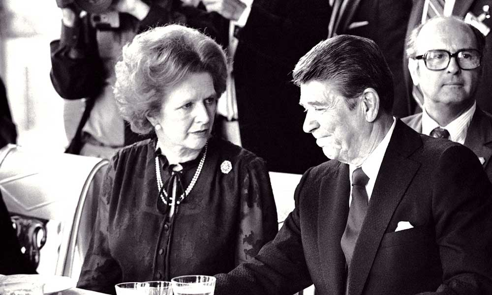 Margareth Thatcher y Ronald Reagan
